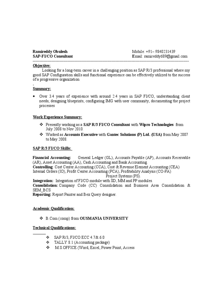 Resume Abap 3 Years Experience Resume ramireddy sap fico resume depreciation accounts payable
