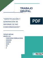 IDENTIFICACIÓN Y GENERACIÓN DE INFORME DE NO CONFORMIDADES