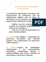 Tipos de exámenes y modalidades de aplicación