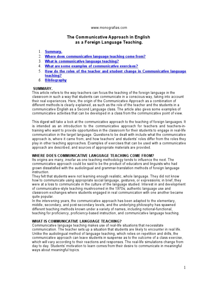 communicative approach to english language teaching
