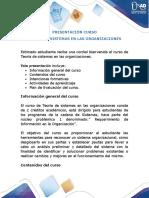 Presentación del curso - Teorías de sistemas en las organizaciones