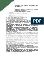 DE LAS OPERACIONES QUE PUEDEN REALIZAR LAS INSTITUCIONES DE CRÉDITO