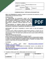 TALLER  TRES - INFECCIONES DE TRANSMISIÒN SEXUAL Y MÈTODOS ANTICONCEPTIVOS -