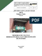I.E JULIO CESAR ARCE HIDROSANITARIO MEMORIAS HS GAS Y RCI