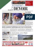 Le Devoir 2016-08-13