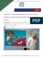 Coronavirus_ L'hydroxychloroquine serait efficace, selon le professeur Raoult de l'IHU de Marseille, après un premier test restreint