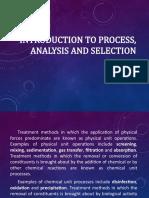 Process, analysis and selection