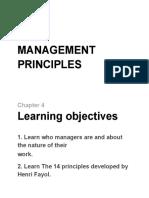 Chapter 4 - Management principles