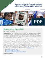 faq for high school seniors   covid-19 resource