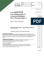 Practice Paper A2 QP - C1 Edexcel