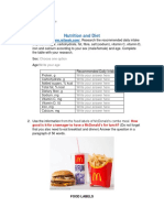 Nutrition and Diet Worksheet
