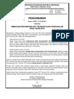 Himbauan-penyampaian Spt Tahunan Pajak Penghasilan Pph Tahun Pajak 2010