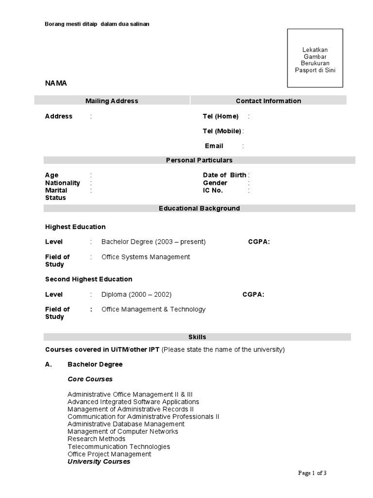 borang resume