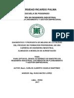 Diagnostico y Propuesta de Mejora de La Calidad Del Proceso Formac Profesional en Ing Industrial en Acreditacion CAOQUELIZM