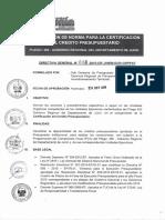 Directiva Regional N 008 - 2015 - Modificaci n de Norma para la Certificaci n del Cr dito Presupuest