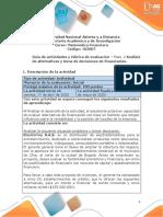 Guía de actividades y rúbrica de evaluación - Unidad 1  – Paso 2 – Análisis de alternativas y toma de decisiones de financiación