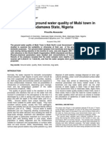 Evaluation of Ground Water Quality of Mubi Town In