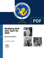 Modifying Enhanced Community Quarantine (ECQ) after April 30, 2020; Recommendation