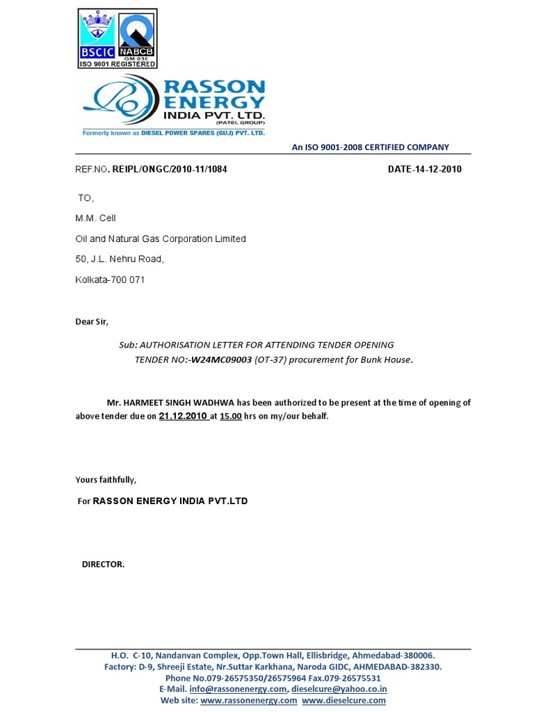 Authorization letter to collect document authority letter for attending tender spiritdancerdesigns Gallery