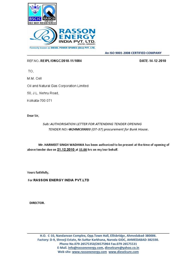 authority letter for attending tender
