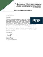 SPARKS Letter of Postponement