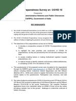 KEY HIGHLIGHTS - National Preparedness Survey on  COVID 19_0