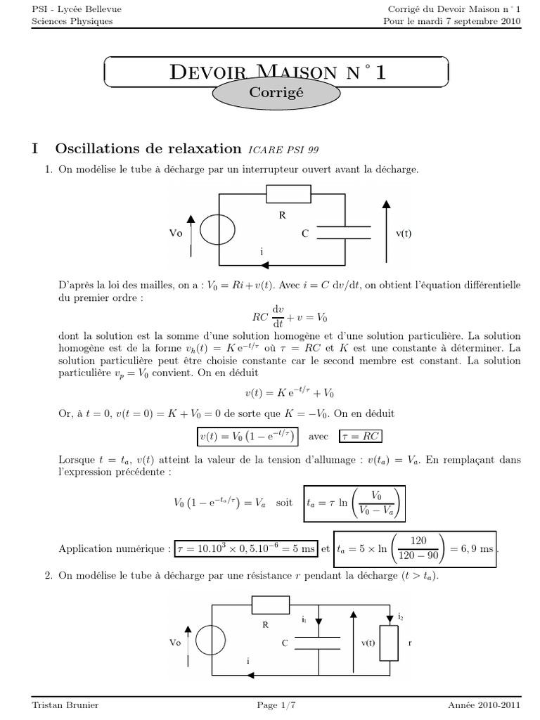 Corrige Dm1 Pdf Impedance Electricite Condensateur