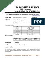 Course Outline - FIN 427 BRAC University BBA