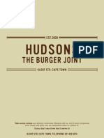 Hudsons - The Burger Joint - Menu