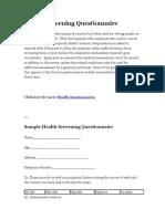 Health Screening Questionnaire