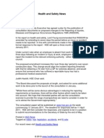 Changes to RIDDOR Regulations