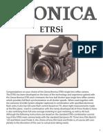 Bronica ETR-Si Medium Format Film Camera Owners Manual
