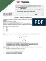 010 Lista 10 - Polaridade molecular e Forças intermoleculares (aluno)