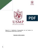 """Módulo 1 Tarea N° 1 """"Clasificación Presupuestaria de las Fuentes de Financiamiento Público para el año 2019"""".docx"""