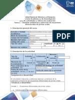 Guia de actividades y rubrica de evaluacion - Tarea  1-Resolver problemas y ejercicios de ecuaciones diferenciales de primer orden