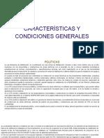 CARACTERÍSTICAS Y CONDICIONES GENERALES (1)