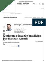 A crise na educação brasileira por Hannah Arendt