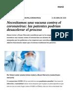 Necesitamos una vacuna contra el coronavirus- las patentes podrían desacelerar el proceso   elcato.org