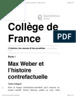Max Weber et l'histoire contrefactuelle