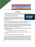 People's Progressive Party Press Release April 25th 2020