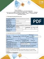 Guía de actividades y rúbrica de evaluación – Unidad 2 - Campos de aplicación de la psicología jurídica - Paso 3 - Funciones del psicólogo jurídico (2)