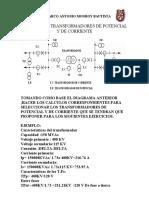 CALCULOS DE TRANSFORMADORES  INSTRUMENTO