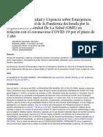 Decreto de Emergencia Sanitaria Por Coronavirus