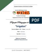 Polycopié Pédagogique de Cours  Irrigation