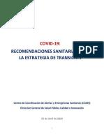 RECOMENDACIONES SANITARIAS PARA LA ESTRATEGIA DE TRANSICIÓN
