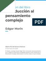 Resumen del libro - Introducción al pensamiento complejo