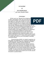 En Matière Le Psychophysique-français-gustavtheodor Fechner