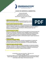 Plan de estudios Especialidad en Gerencia Ambiental