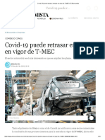 Covid-19 puede retrasar entrada en vigor de T-MEC _ El Economista