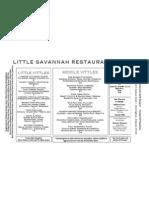 Little Savannah Dinner Menu